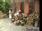 Cutting wood and eating pussy