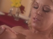 Gorgeous babe sucks a load up to the last drop