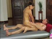 Brunette and horny Sara Luvv gets hammered by John Strongs huge cock