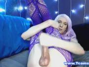 Blonde Tranny Enjoys Playing Her Cock and Ass