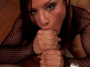 Hot latina jerking off a huge cock
