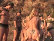 Sexy babes and a guy in a crazy outdoor fucking trip