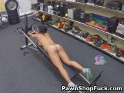 Dirty Amateur Girl Working Out For Cash In Pawn Shop