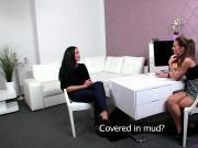 Lezdom agent watches client masturbate