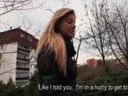 Amateur blonde Eurobabe swallows warm jizzload for money