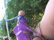 Sexy Ebony Slut Squirts While In Bondage