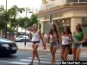 Following Teens In Sexy Shorts
