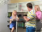 very hot little blonde and her wild step mom
