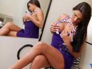 Sexy shemale Leticia Araujo jerking off her hard schlong