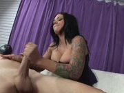 Huge rack latina jerking off a stiff pole