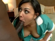Adorable latina maid gets nailed from behind