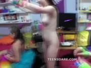 Crazy teens host naked party on cam