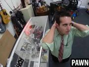 Amateur stud sucking on a cock at the pawn shop