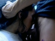 Two amateur girls sucking and fucking in the garage