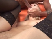 Amazing blonde girl railed by a black cock