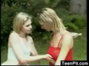 Teen Lesbians Outside With A Strapon