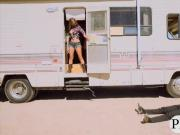 Sexy brunette cowgirl screwed up inside a big van