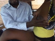 Busty black girl gets fucked in the van