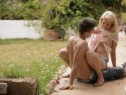 Cute teen Izzy Delphine outdoor fucking with horny partner