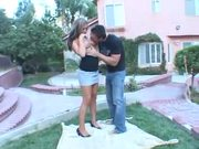 Cutie gets her pussy pounded on the ground