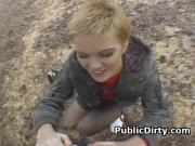 Short Haired Blonde On Knees Sucking Dick Outdoors In Public