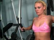 Gorgeous blonde gets pussy teased at the gym