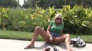 Horny wife dildo fucks herself in the garden