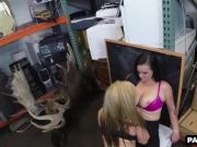 Two hot babes sucking on a cock at the pawn shop