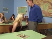 Horny class banging their sex teacher