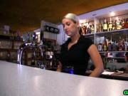 Hot girl bartender fucks customer in back