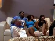 Brotha gets sucked by big stacked ebony MILF in parody