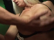 Busty blonde wife makes a big cock bust