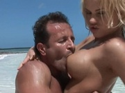 Sexy latin babe gets fucked at the beach