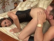 Skinny girl penetrated by foot long