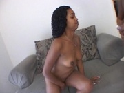 Black girl gets pussy pounded on couch