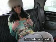 Huge tits brunette stunner fucked in cab