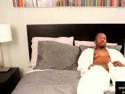 Muscled ebony horny dude wanking off