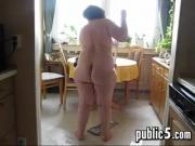 Fat Woman Cleans The House Naked