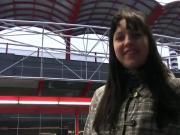 Dark haired babe creampied in public