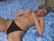Amateur girl dildo fucking her pussy