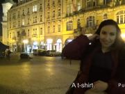 Euro amateur flashing tits in public