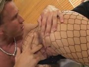 Pretty babe in fishnets gets fucked in the ass