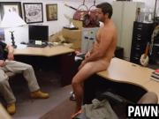 Amateur hunk tugs on his cock at the pawn shop