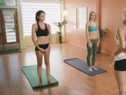 Hoy yoga session with massive tits babes to stay healthy