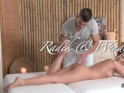 Nude brunette gets massage and fuck