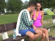 Blonde teen natural tits Eveline getting poked on camping site