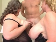 Two fatty women getting fucked by a dude