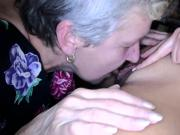 Young lesbian girl licking and masturbating with old Oma together