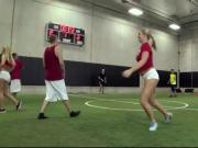 Coed Strip Dodgeball At University Gymnasium