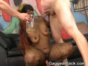 Dirty Black Hood Rat Choking On White Dicks In Threesome